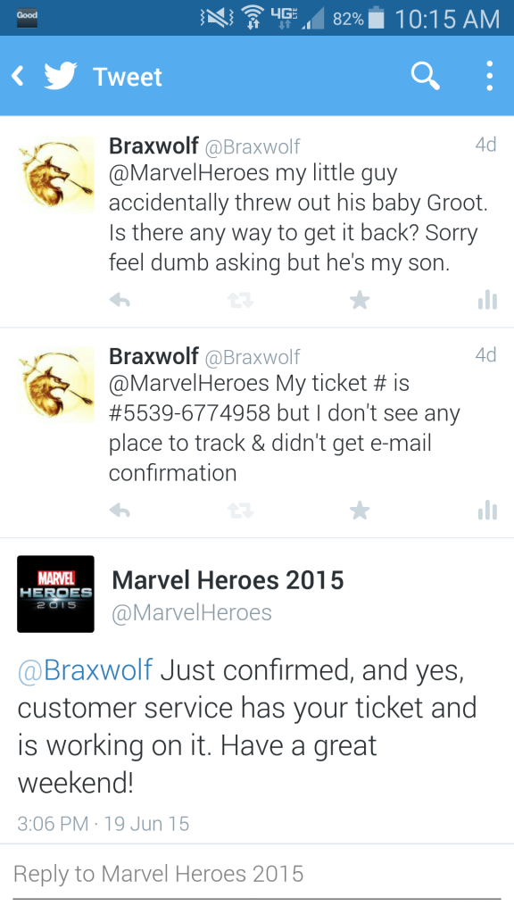 Marvel Heroes Twitter Response